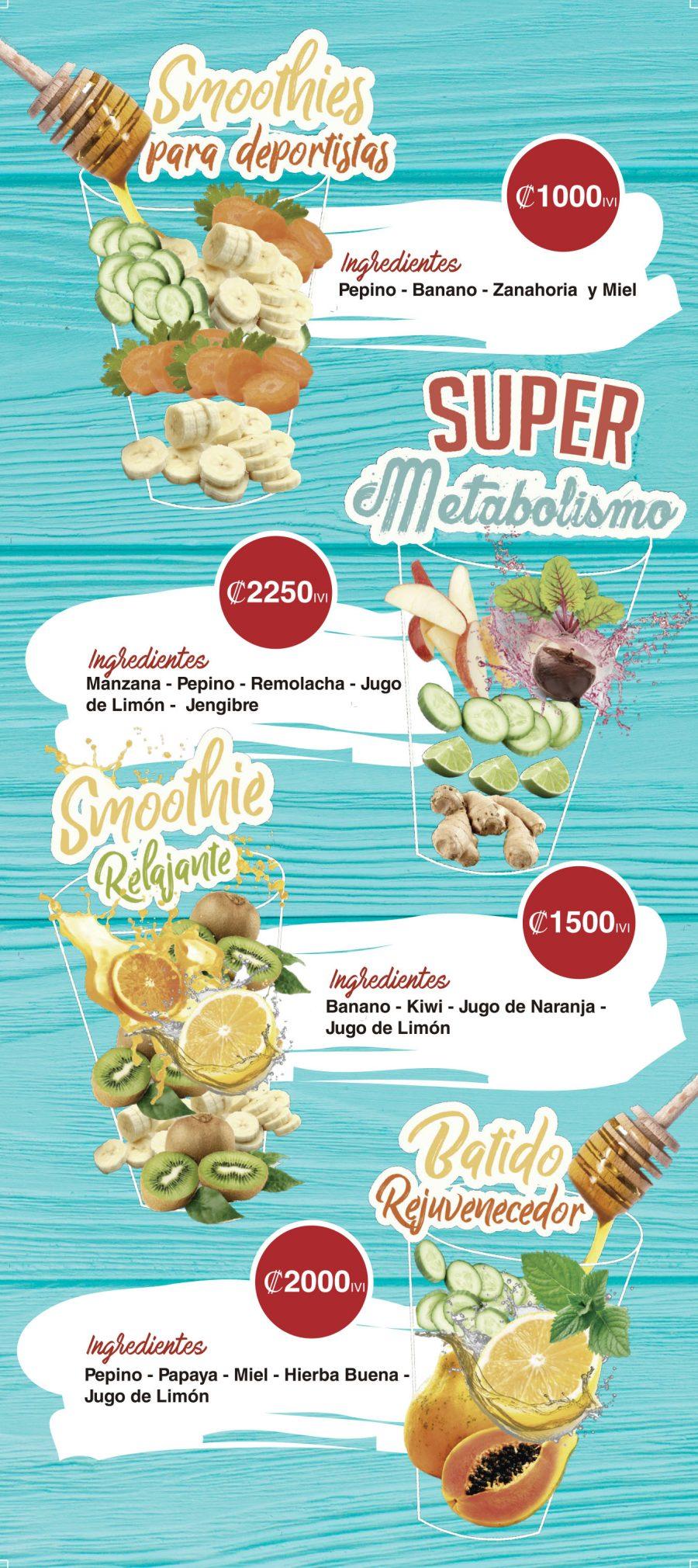 menu batidos COCO BEACH